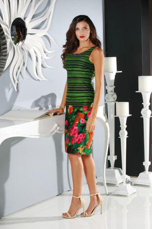 "Green ""Strip and Flower"" fitted knee length dress"