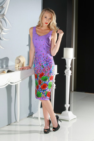 "Atina Luxe Lavender ""In The Mood For Love"" Flower Print Fitted Knee Length Dress"