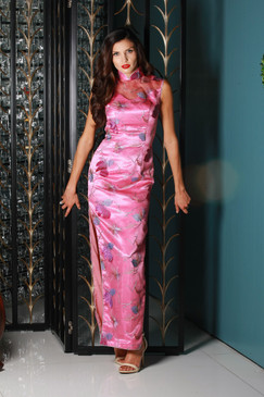 "Pink ""Lady Shanghai"" Qipao with flower appliqués"
