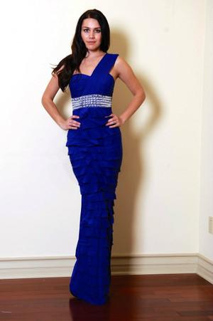 Blue One Shoulder beaded Waist Tiered Evening Dress
