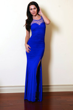 Atina Collection Blue Lady Lithe Sheer Neckline Fitted Evening Dress