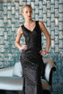 Gatsby Black Sequins Art Deco Evening Dress