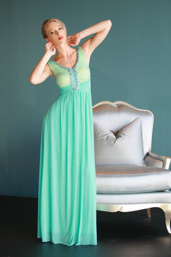 Atina Collection Pastel Green Lace bodice empire waist evening dress