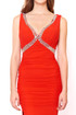 Red V Neck Beaded  Evening Dress