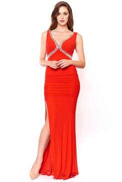 Red Beaded V Neck  Evening Dress