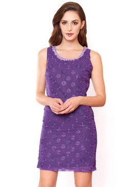 Purple flower embroideries Cotton Dress