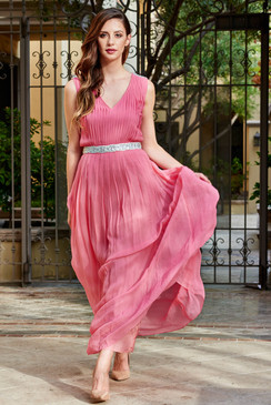 Salmon Red Classic Beauty Maxi Dress pleated skirt