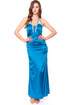 Blue Sapphire Silk strappy back sheer shoulders Gown