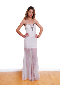 White strapless lace gown with sheer skirt