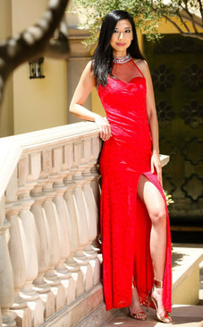 Red Hot Elegance Illusion Neck Lace Gown