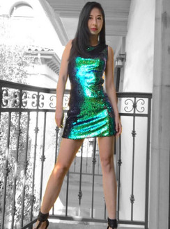 Green Sequins Sleeveless Dress