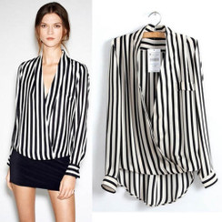 Black and White Striped wrap front dip hem Blouse