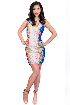 Blue White Crochet Lace rose dream floral print dress