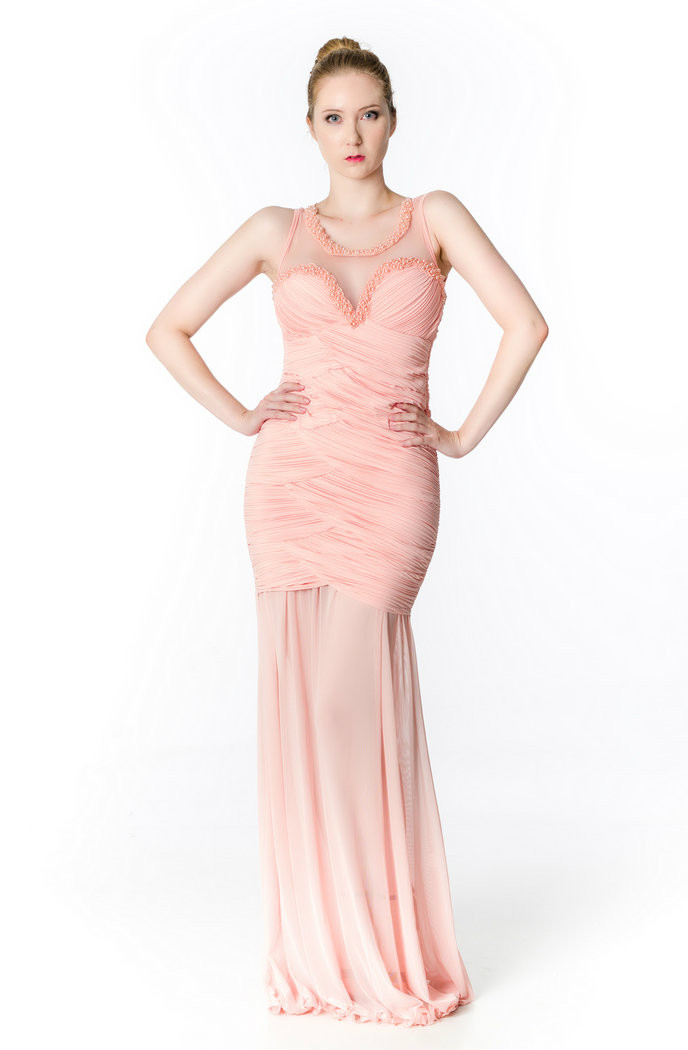 24bb3c91c0d pink belle beaded sheer neckline pleated bodice gown