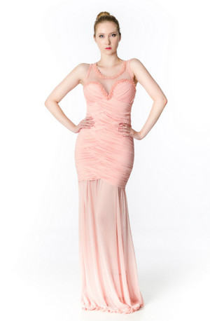 Pink Belle beaded Sheer neckline pleated bodice gown
