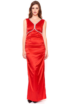 Red Silk V Neck Red Gown with silver sequins embellishment