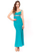 Teal sweetheart neckline stretchy Gown with silver sequins shoulder to waist