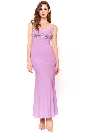 Lavender sweetheart neckline stretchy Gown with silver sequins shoulder to waist