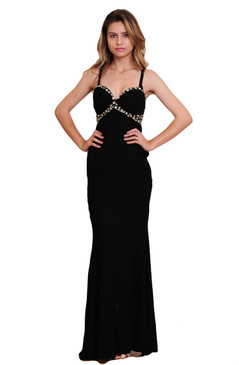 Black Spaghetti Straps V Neck Gown