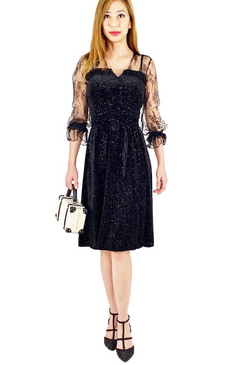 Black lace Long Sleeved shimmered velvety dress