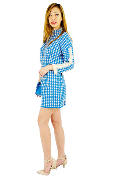 Blue Houndstooth print Dress