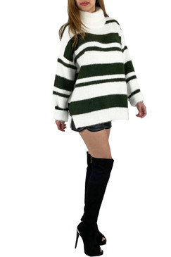 Black Strip Turtle Neck Sweater