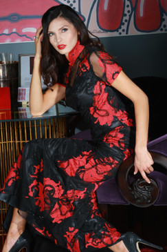 Red flower Qipao