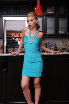 Teal Jeweled halter embossed dress