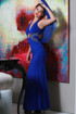 Goddess Blue gown with flowy wings, x-back and beaded waist by Atina Collection
