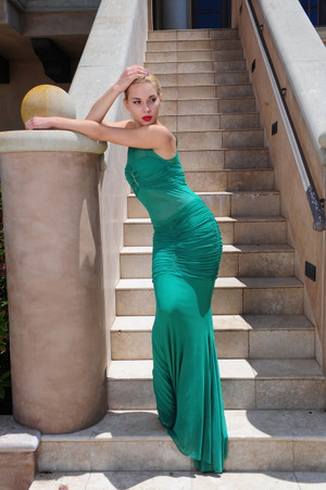 Atina Collection Green Sheer Form Fitting Dress with Bust Pad