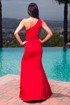 Red beaded One shoulder column dress with sparkly waist and slit