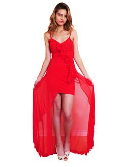 Red diagonal Hi Low Ruffle Gown