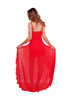 Red diagonal Hi Low Ruffle Gown