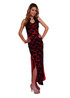 Modern Qipao black lace on burgundy red by Atina Collection
