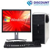 "FAST HP Tower Windows 10 Desktop Computer PC Dual Core 4GB 17"" LCD WiFi"