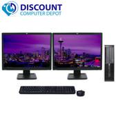 HP 8000 Elite Tower Windows 10 Desktop Computer 250GB Dual 19 HP LCD Monitor