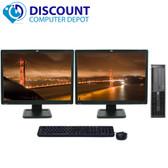 "HP 8000 Elite Windows 10 Desktop Computer 8GB 1TB Dual 19"" LCD Monitor"