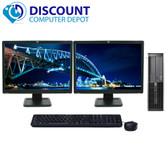 Lot of 5 HP 8000 Elite Windows 7 Desktop Computer PC C2D 4GB Dual Monitor 17 LCD