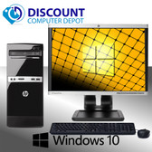 "Fast HP 500B Desktop Computer Tower Windows 10 Dual Core 4GB 160GB 19"" LCD"