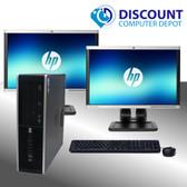 HP Elite I5 Windows 10 Desktop Computer 16GB 1TB Dual 19 LCD's  w/1GB Video Card