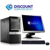 """HP Windows 10 Tower Computer PC Dual Core 4GB 160GB DVD WiFi 17"""" LCD Key-Mice"""