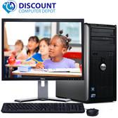 """Dell Optiplex Windows 10 Desktop Computer Tower PC Core2Duo 4GB SSD 17"""" LCD Wifi"""