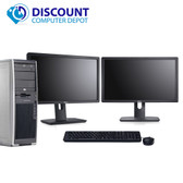 "HP xw4600 Workstation Tower Computer Core 2 Quad 3.0 8GB 500GB Win10 Pro Dual 19"" LCD Monitors"