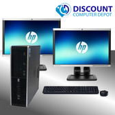 HP Elite i5 Windows 10 Desktop Computer 8GB 1TB HDD 240GB SSD Dual 19 LCD's  w/ HDMI Video Card