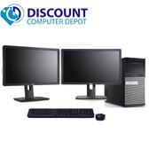 "Dell Optiplex 7010 Desktop Computer Tower PC i5 3.2GHz 8GB 320GB Windows 10 With Dual 2x19"" LCD Monitors"
