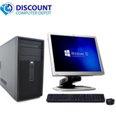Fast HP Windows 10 Tower Desktop Computer PC Core 2Duo 4GB 160GB DVD WiFi 17 LCD