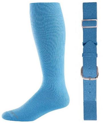 Columbia Blue Baseball Socks & Belt Combo (1 Pair of Socks & 1 Belt)