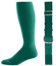 Dark Green Baseball Socks & Belt Combo (1 Pair of Socks & 1 Belt)