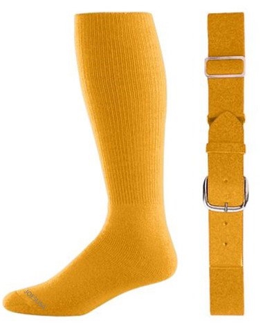 Gold Baseball Socks & Belt Combo (1 Pair of Socks & 1 Belt)