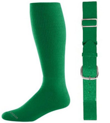 Kelly Green Baseball Socks & Belt Combo (1 Pair of Socks & 1 Belt)